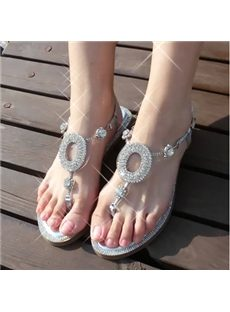 Casual Sparkling Rhinestone Flat Sandals