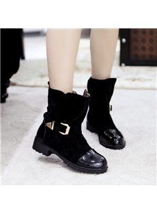 Charming PU & Abrazine Suede Black Flat Boots