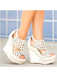 Chic Cut-Outs White Wedge Sandals