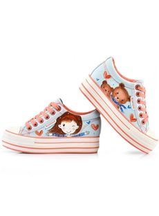Chic Hand-Printed Lace-Up Canvas Shoes