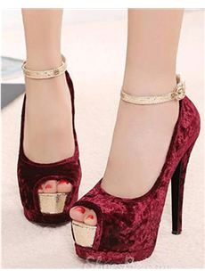 Chic Red Suede Upper  Peep-toe Platform Stiletto Heels