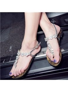 Chic Rhinestone Flowers Ankle Strap Flat Sandals