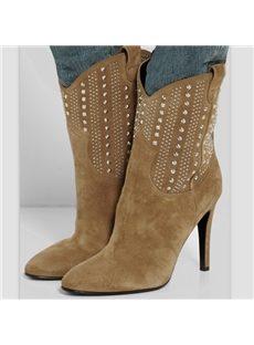 Classic Suede Rivet Stiletto Heels Boots