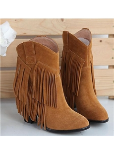Classic Tassel Cowhide Chunky Heel Boots