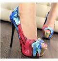Color Flowers Platform Stiletto Peep-toe Heels