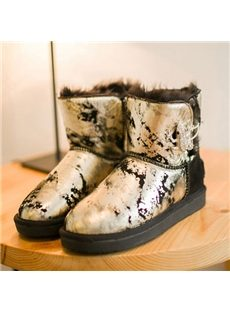 Colorful Block Patchwork Snow Boots