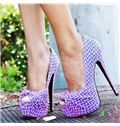 Colorful Stripe Platform Peep-toe Stiletto Heels