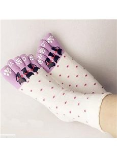 Colorful Three-cat Cotton Socks