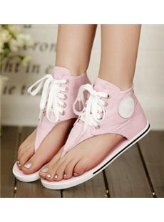 Comfort Denim Lace-Up Flip-Flops