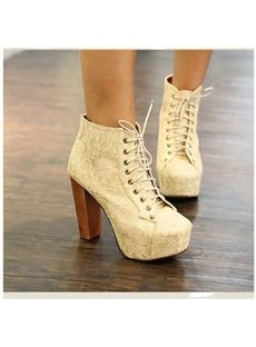 Comfortable Apricot  Platform Square Toe  Ankle Boots