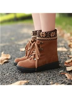 Comfortable Concise Lace-up Flat Boots