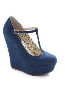 Comfortable Denim Ankle Strap Wedge Heels