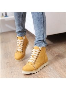 Comfortable Lace-Up Round Toe Flat Boots