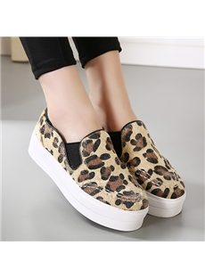 Comfortable Leopard Horsehair Flat Shoes
