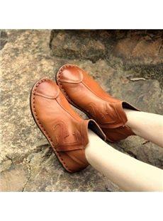 Comfortable Retro Genuine Leather Flat Boots