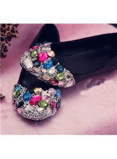 Comfortable Sparkle Flat Heels with Shining Rhinestones
