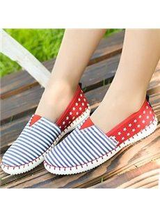 Comfortable Stripe Comfort Flats with Star Print