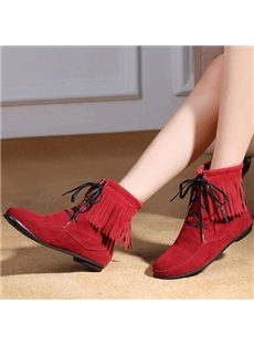 Comfortable Tassels Lace-Up Flat Boots