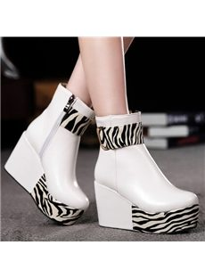 Concise Contrast Color Wedge Heel Ankle Boots