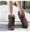 Concise Cow Leather Snow Boots With Button