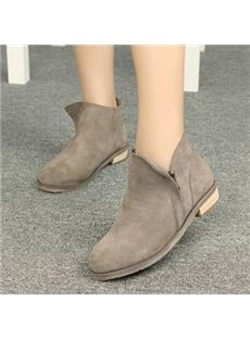 Concise Cowhide Dull Polish Flat Boots With Zipper