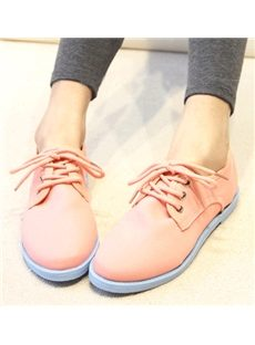 Concise Lace-Up Constrast-Color Flat Shoes