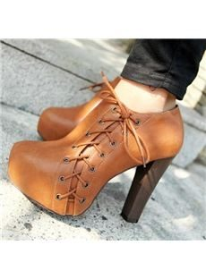 Concise Lace-up Chunky Heels Ankle Boots