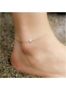 Concise Rhinestone Decoration Anklets