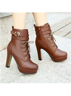 Concise Solid Color High Heel Boots