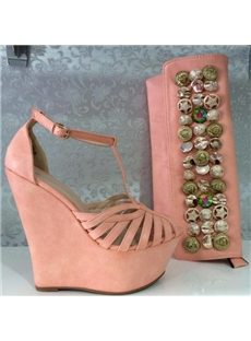 Concise Solid Color Pink Wedge Sandals