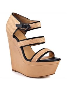Concise Straps Contrast Color Wedge Sandals