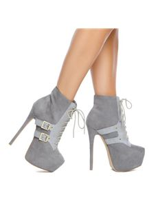 Contrast Color Lace-Up Platform Stiletto Heel Ankle Boots With Buckle