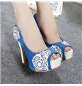 Contrast Color Peep-Toe Heels