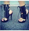 Contrast Colour Lace-Up Platform Sandals