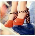 Contrast Colour Leopard Grain Suede Platform Sandals