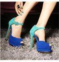 Contrast Colour Suede Ankle Strap Platform Sandals