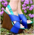 Contrast Colour Wedge Sandals