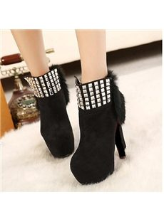 Cony hair Zipper Rhinestone Suede Chunky Platform Boots