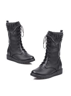 Cool Pure Color Lace-up Flat Boots With Rivets