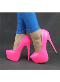 Cool Show Candy Colour Patent Leather Stiletto Heel Platform  Women Shoes