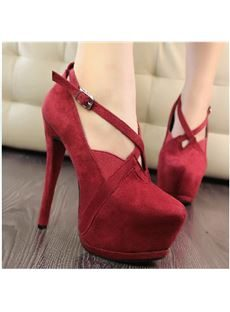 Cool Show Solid Colour Suede Round Toe Ankle Strap High Heel Shoes