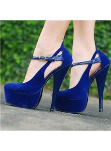 Courtlike Blue Suede Platform Heels with Ankle Strap