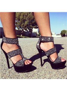 Dazzling Rhinestone Rivets  Stiletto Heel Platform Sandals