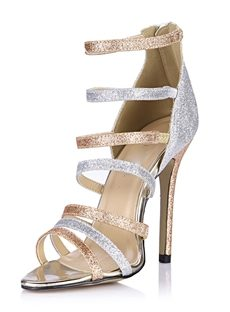 Dazzling Two-Tone Straps Hollow Stiletto Heel Dress Sandals