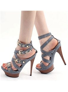 Delicate Denim Platform Stiletto Heels Sandals