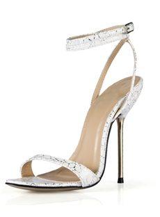 Delicate Stone Print Stiletto Heel Ankle Strap Sandals