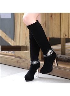 Deluxe Shinning Rhinestone Pure Color Knee High Boots