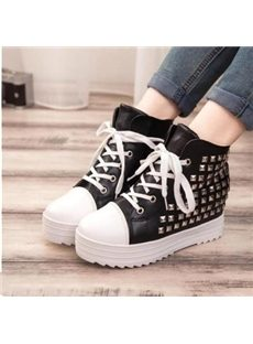 Durable Rivet Lace-up High-top Canvas Shoes