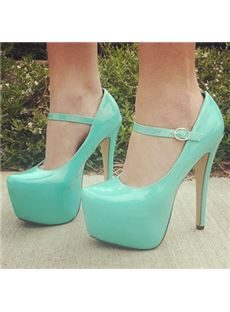 Elegant Blue Coppy Leather Platform Ankle Strap High Heel Shoes