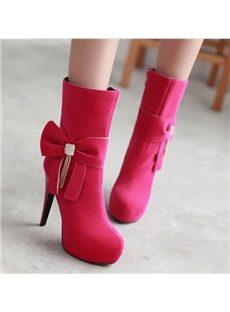 Elegant Bowknot Rhinestone High Heels Boots